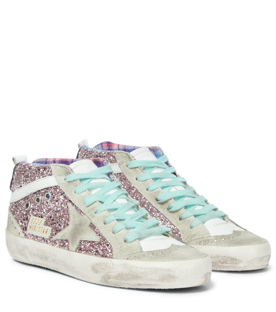 Mid Star glitter and leather sneakers