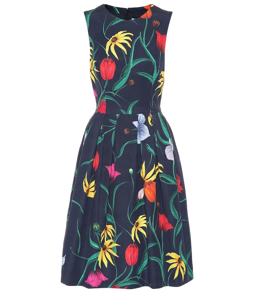 CAROLINA HERRERA Floral Cotton-Blend Dress in Blue