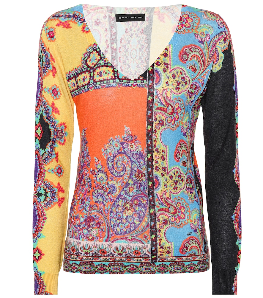 V-Neck Long-Sleeve Multi-Print Silk-Cashmere Top in Yellow