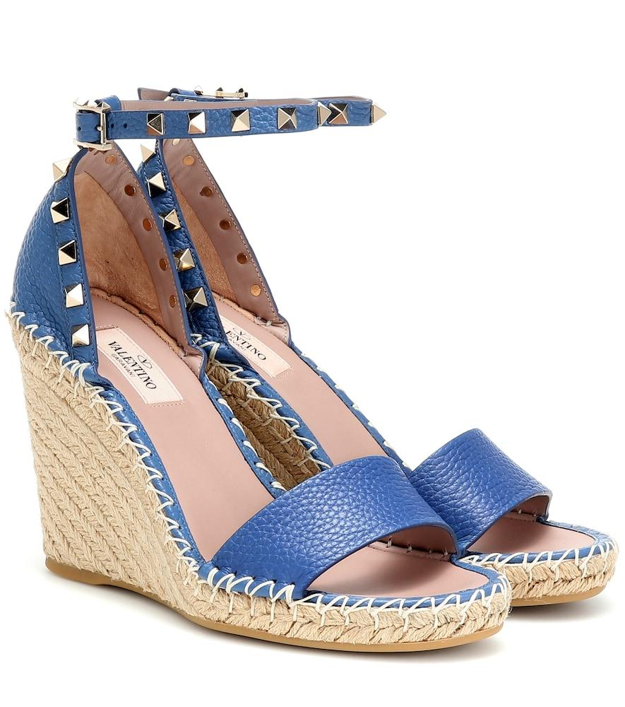 Valentino Rockstud Double Espadrille Wedge Sandals In Blue