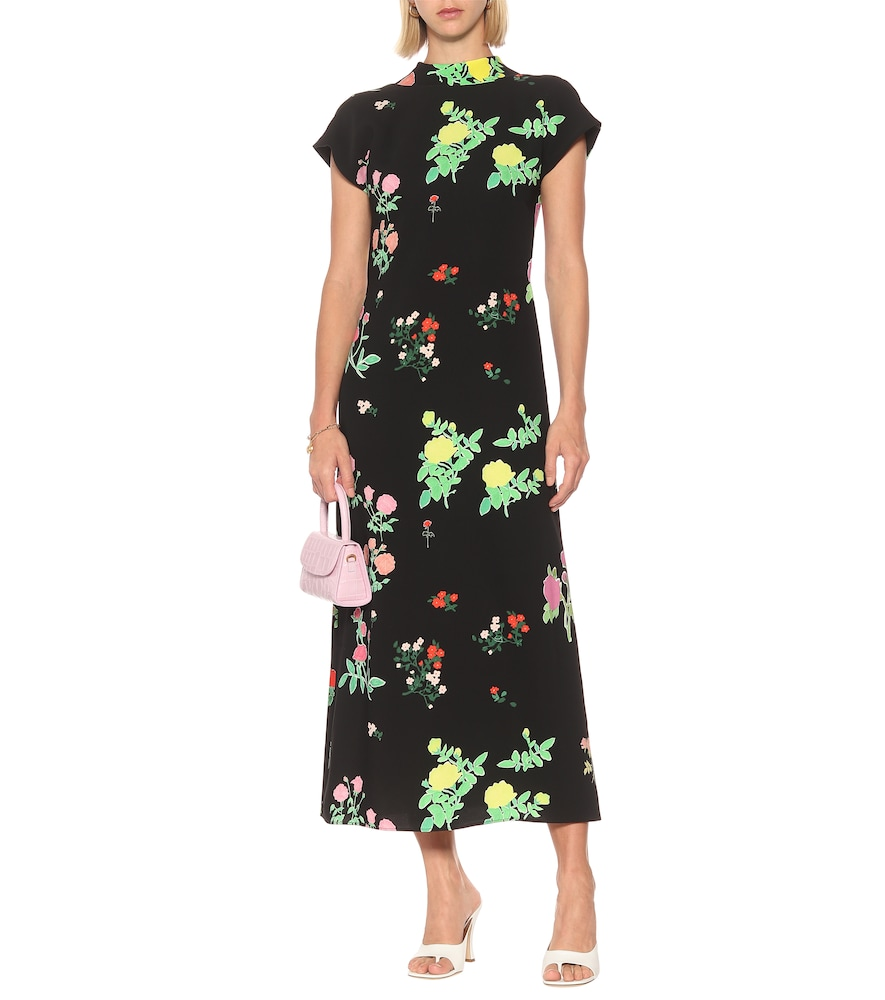 Valentine floral crêpe maxi dress by Bernadette