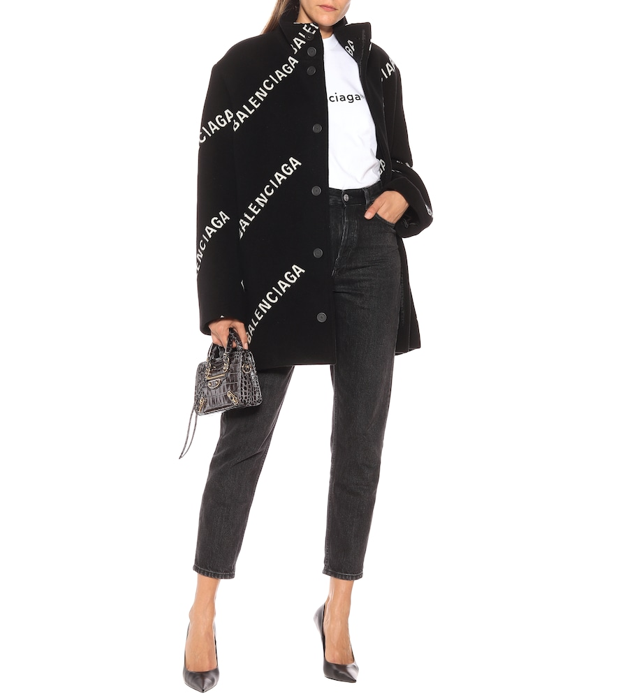 Logo wool and cashmere coat by Balenciaga