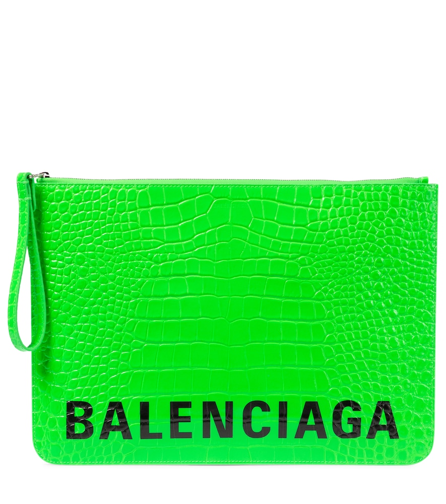 Balenciaga LOGO CROC-EFFECT LEATHER POUCH