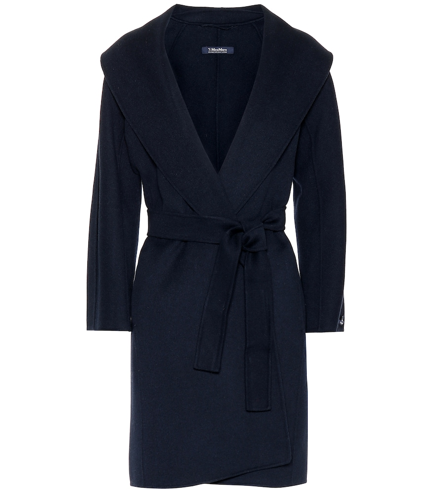 Messi Wool Wrap Coat in Blue