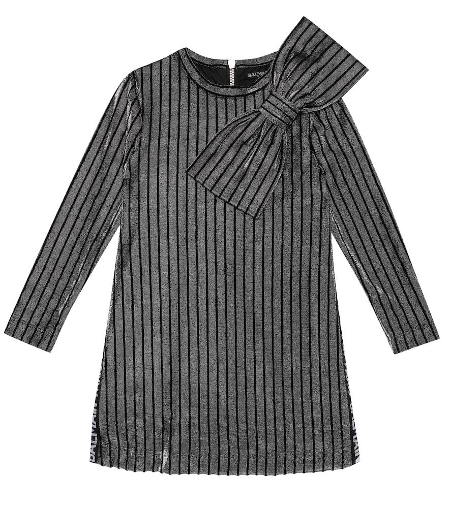BALMAIN KIDS | Striped Metallic Knit Dress | Goxip