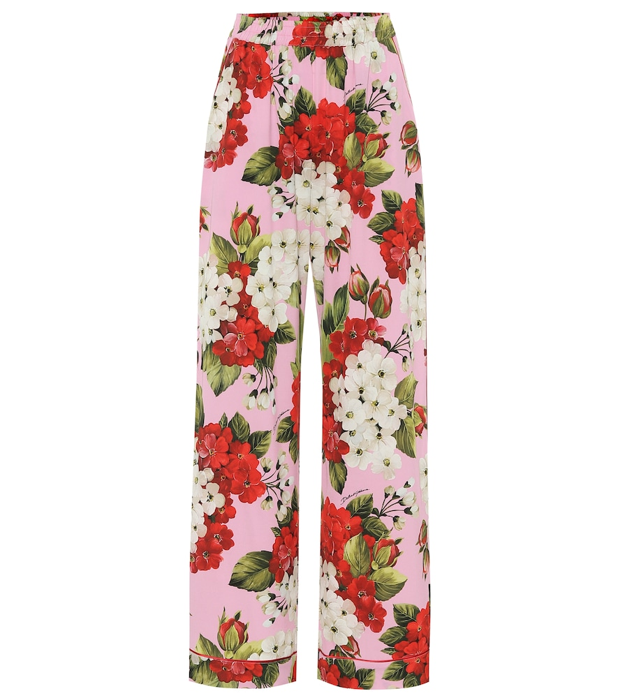 Floral silk-satin pajama pants