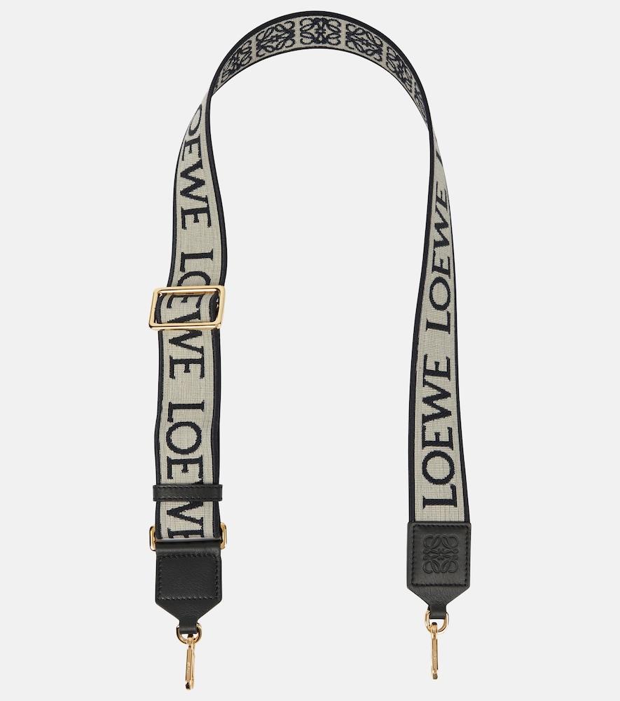 Anagram leather-trimmed bag strap