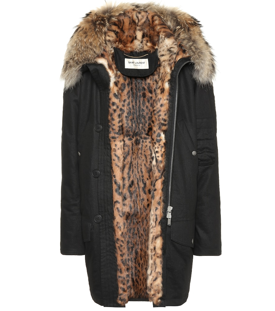 Fur-Lined Cotton-Blend Parka in Black