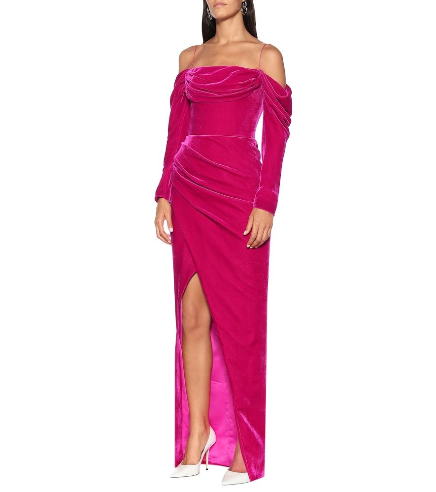 Photo of Silk-blend velvet corset gown by RASARIO - shop RASARIO Dresses, Midi & Long online