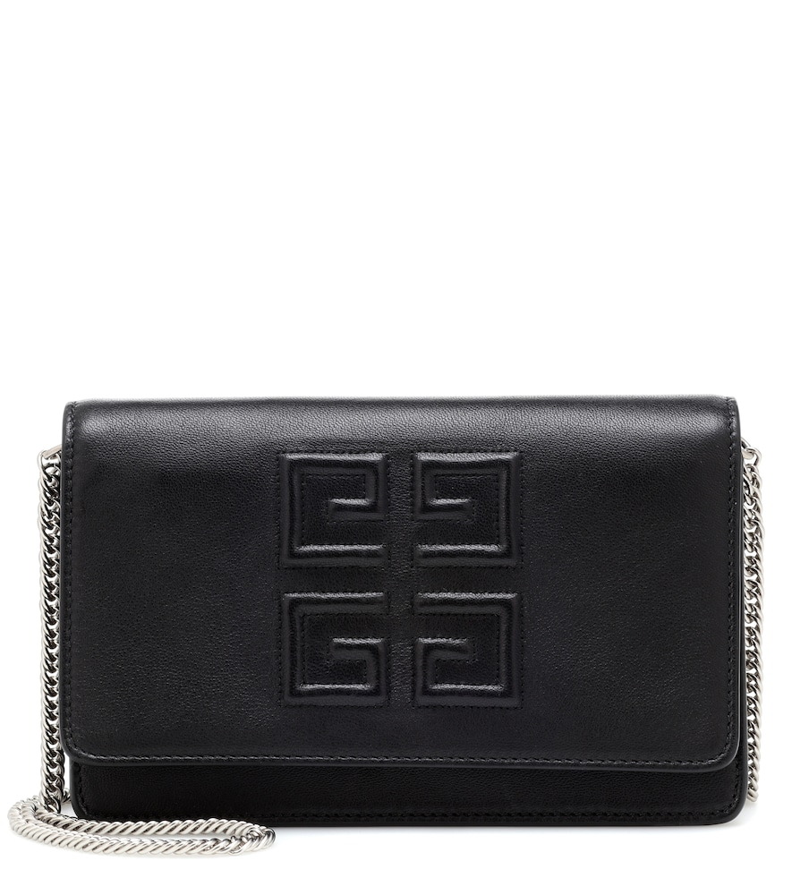 GIVENCHY Emblem Lambskin Leather Crossbody Bag - Black