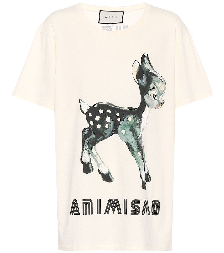 Animismo-Print Cotton T-Shirt in Neutrals