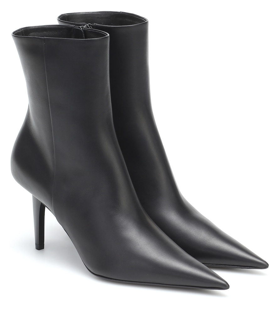 Balenciaga Knife Shark Leather Ankle Boots In Black