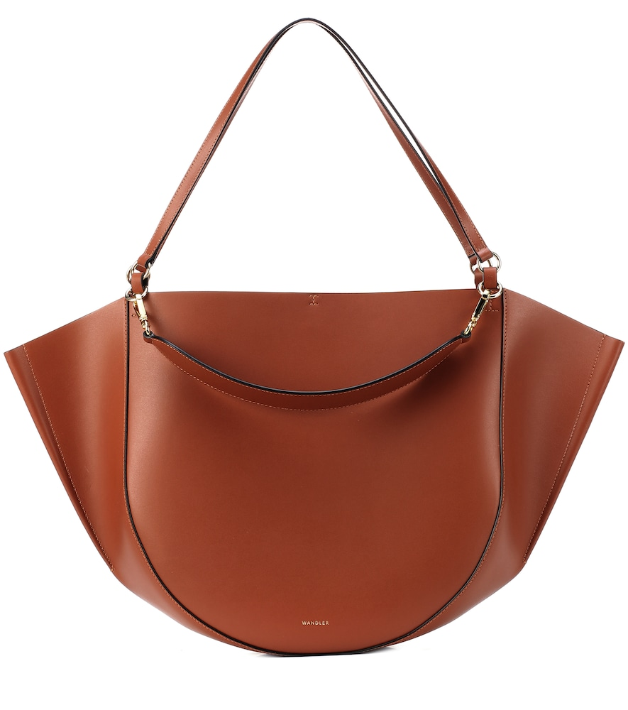 WANDLER Mia Medium Leather Tote in Tan
