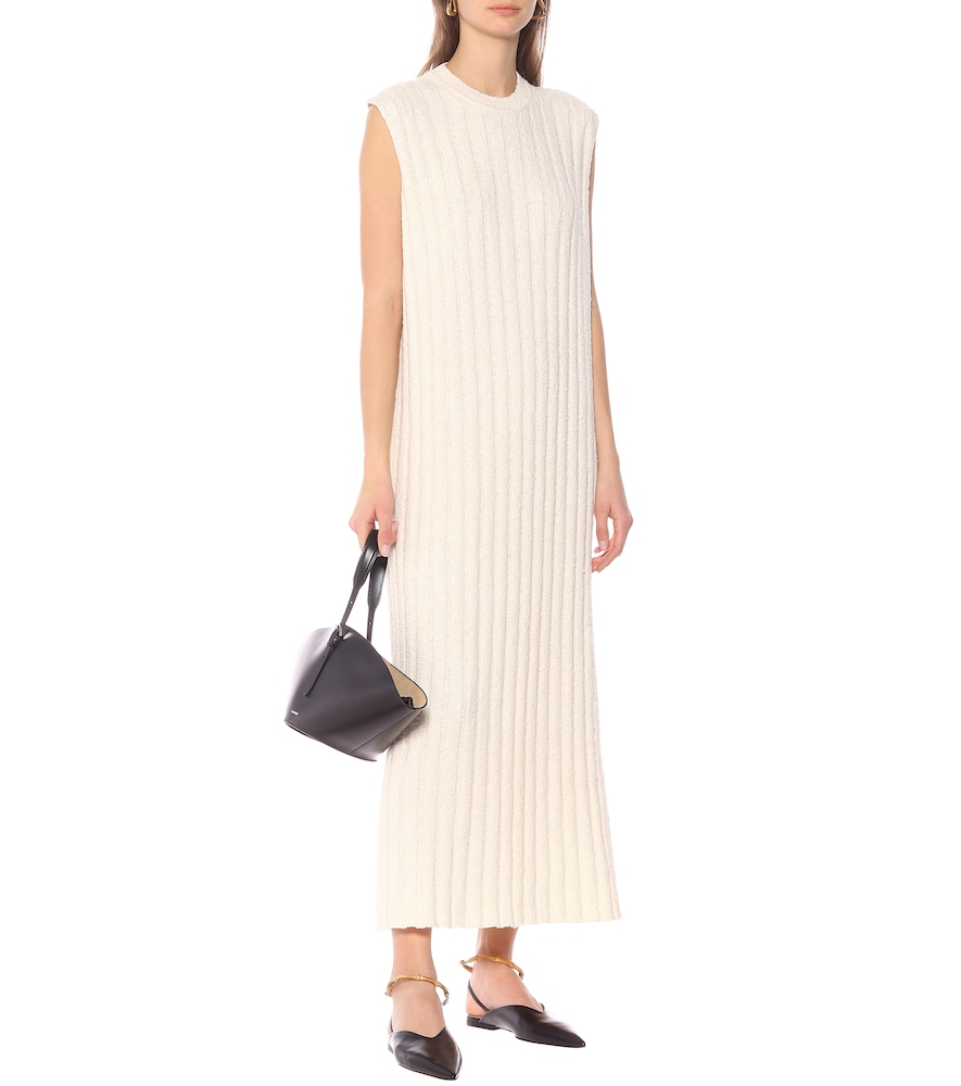 Ribbed-knit cotton-blend midi dress by Jil Sander