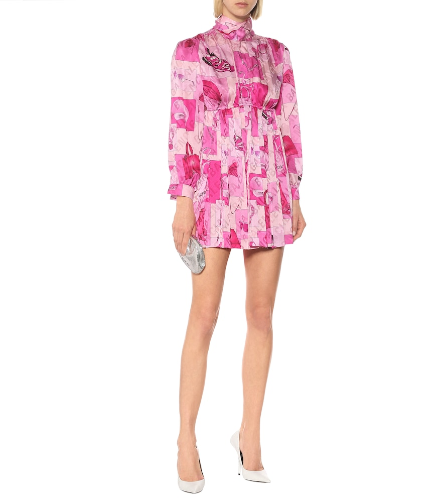 Photo of Printed silk tie-neck minidress by Balenciaga - shop Balenciaga Dresses, Mini Dresses online