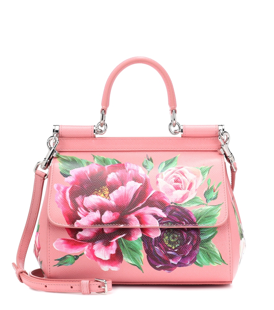 Medium Sicily Bag In Printed Dauphine Calfskin in Pink