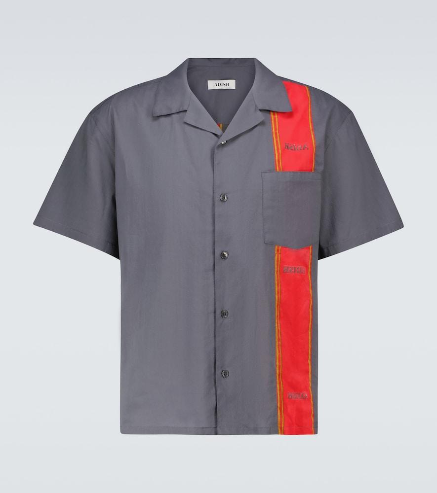 Woodblock short-sleeved shirt