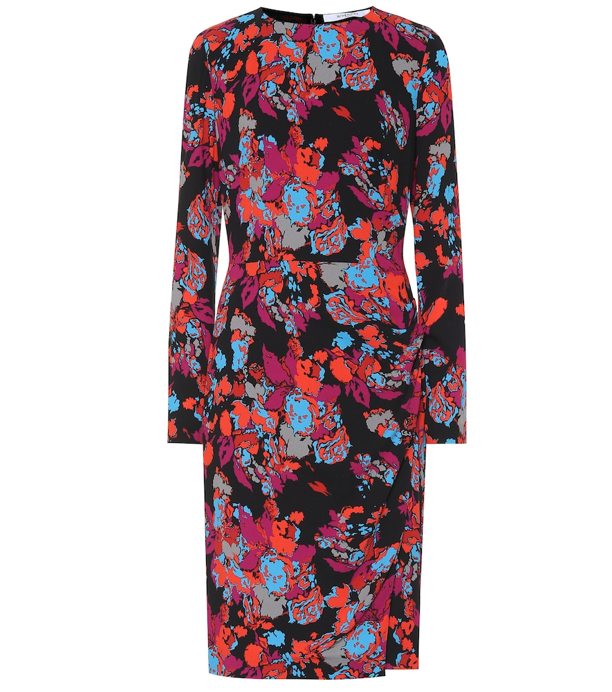 Givenchy Long-Sleeve Ruched Waist Floral Print Dress In Black