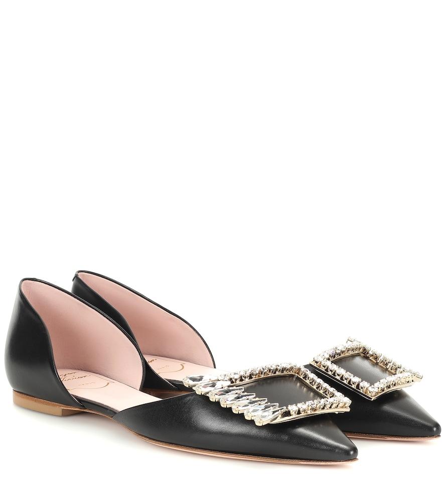 Roger Vivier Dorsay Crystal Embellished-Buckle Leather Flats In Black