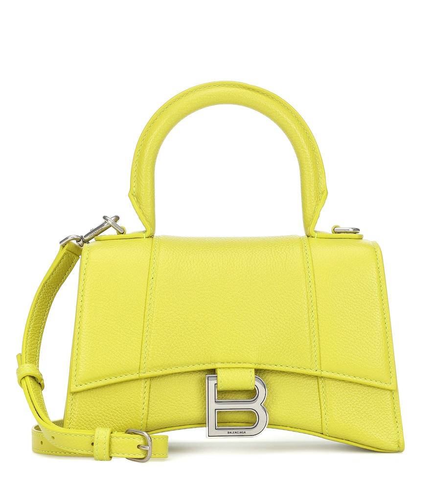 Balenciaga Hourglass Xs Embellished Textured-leather Top Handle Bag In Green