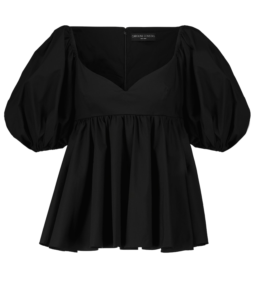 Leigh puff-sleeved cotton-blend top