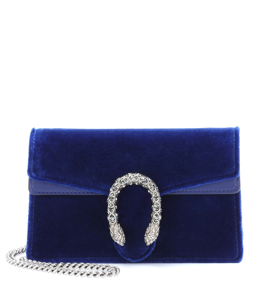 DIONYSUS VELVET AND LEATHER CLUTCH