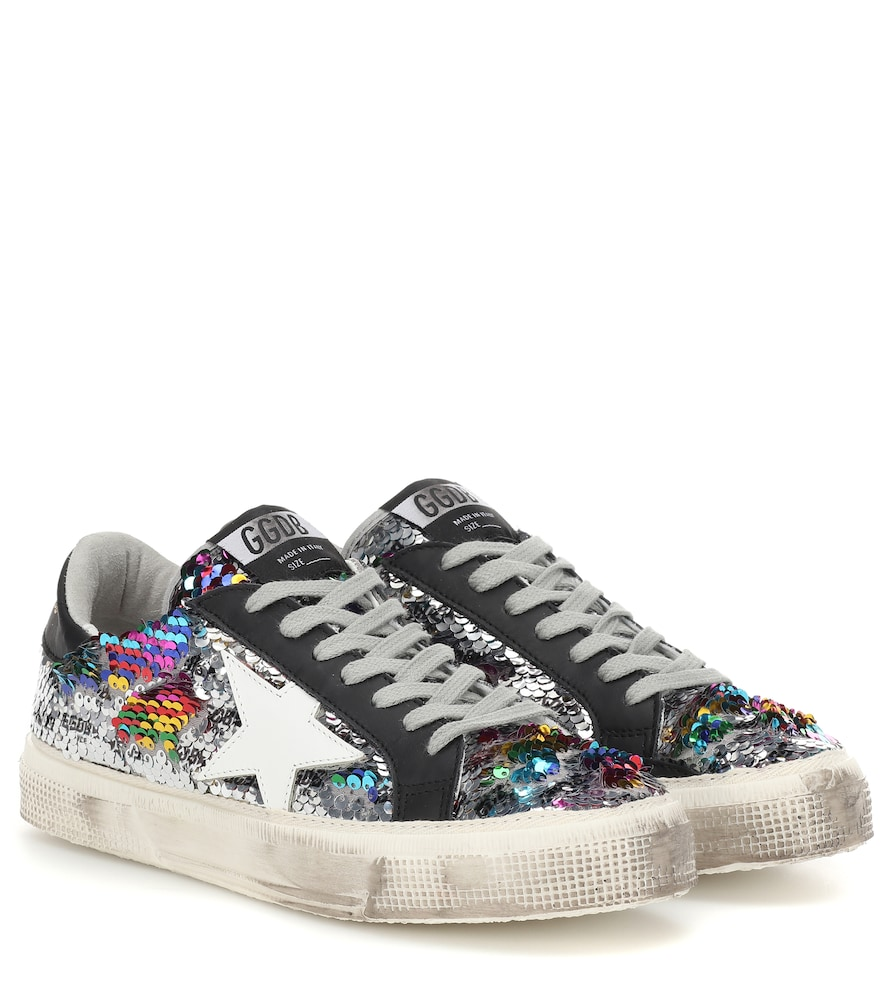 May Rainbow Sequin Low-Top Sneakers in Rainbow/Silver