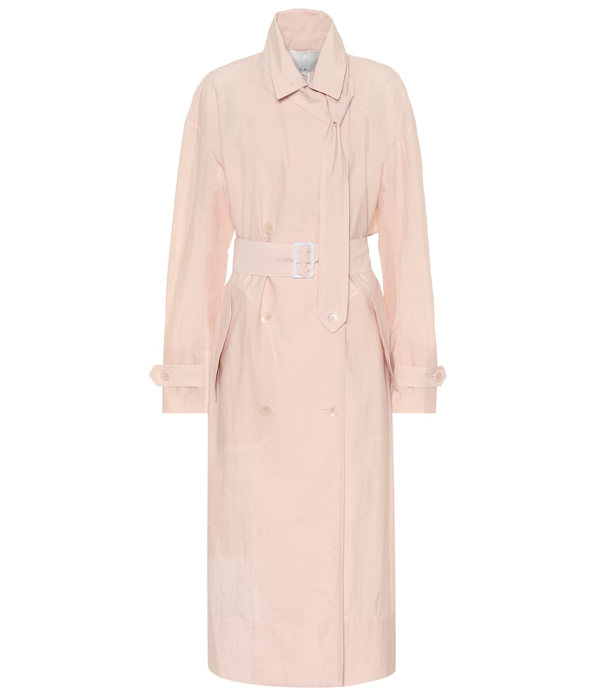 Tibi Lightweight Double-Breasted Trench Coat In Blush