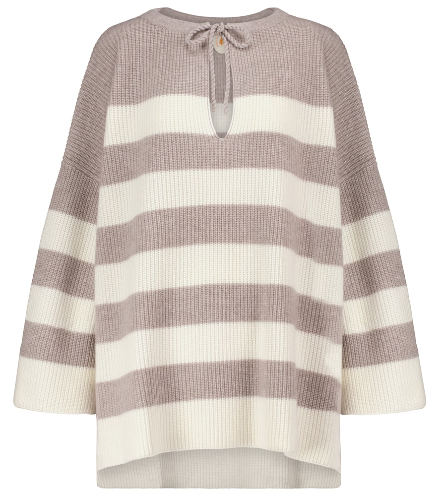 Striped wool and cashmere poncho