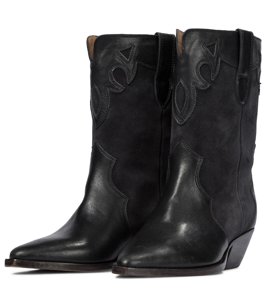 ISABEL MARANT Mid heels DUONI SUEDE AND LEATHER COWBOY BOOTS