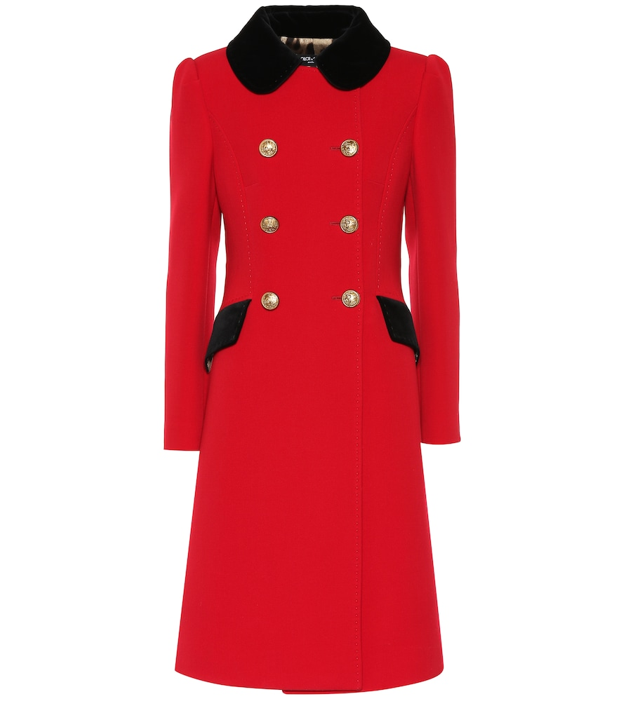 Contrast-Collar Double-Breasted Wool-Blend Coat, Red