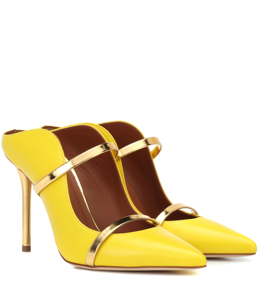 Maureen 100 Metallic-Trimmed Leather Mules in Yellow