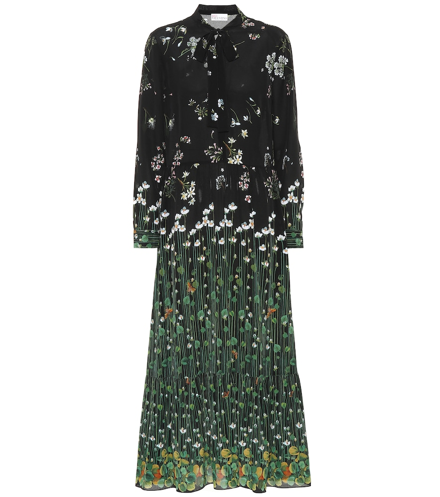 RED VALENTINO FLORAL-PRINTED SILK DRESS