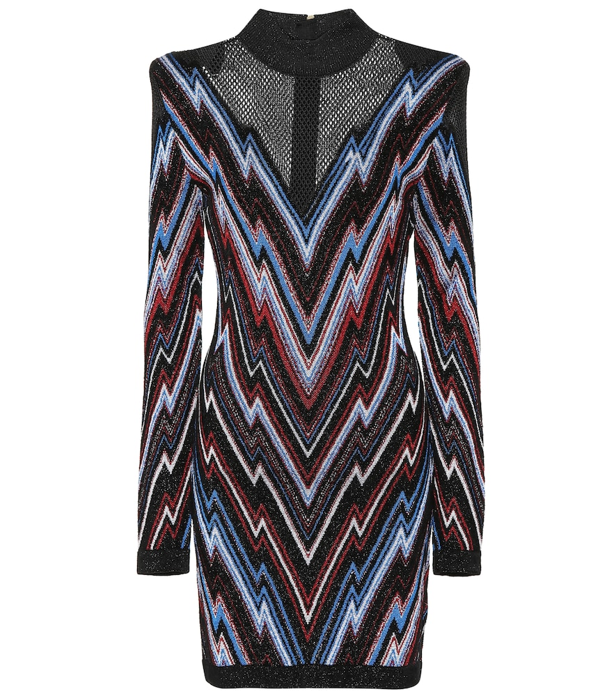 Illusion Yoke Metallic Chevron Dress, Multicoloured