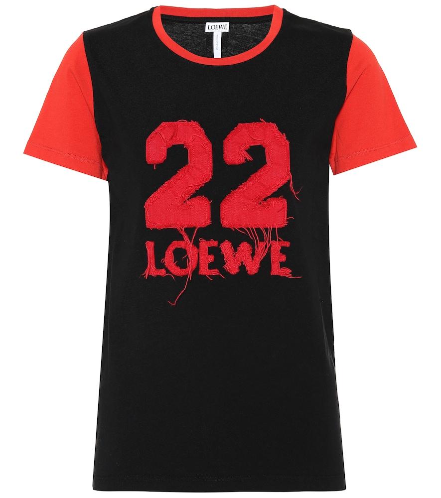 LOEWE Appliquéd Cotton-Jersey T-Shirt, Black/Red