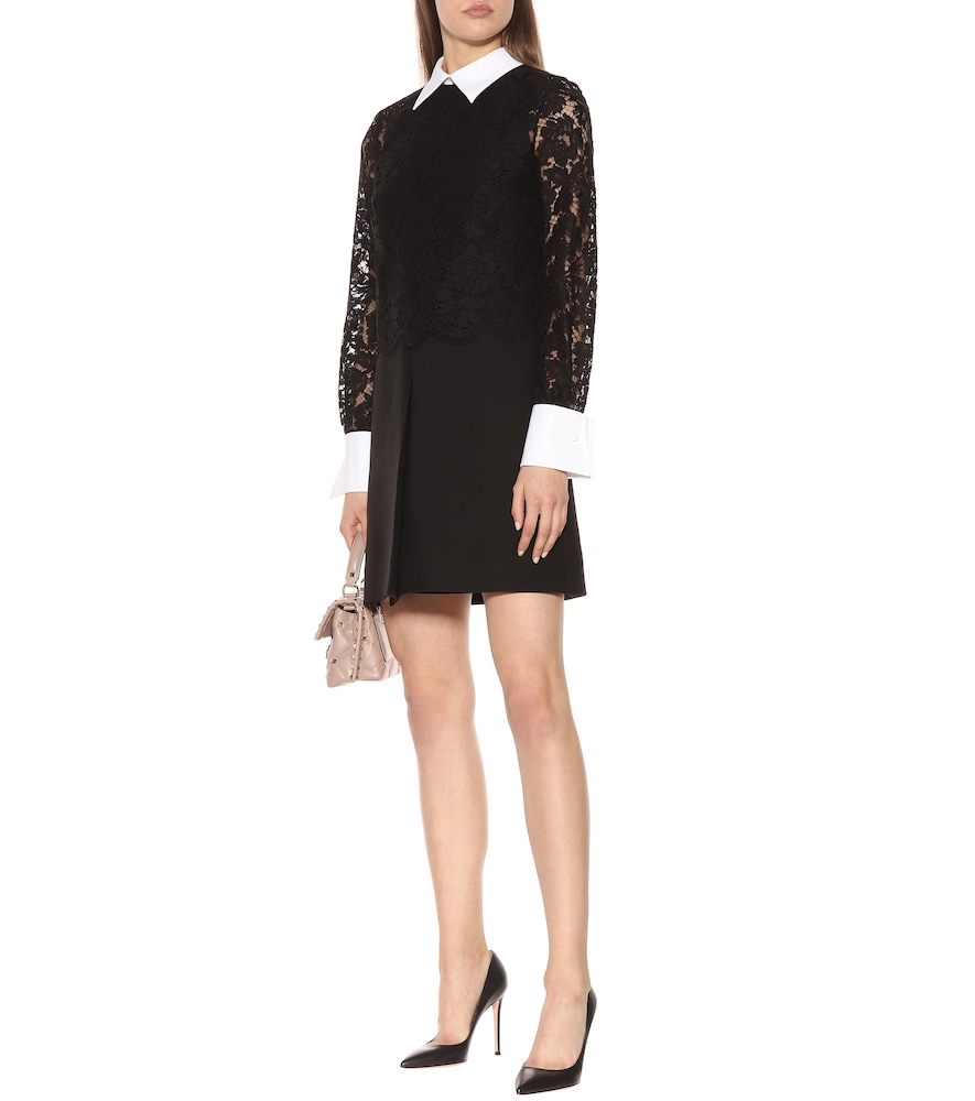 Lace-sleeved wool and silk dress by Valentino