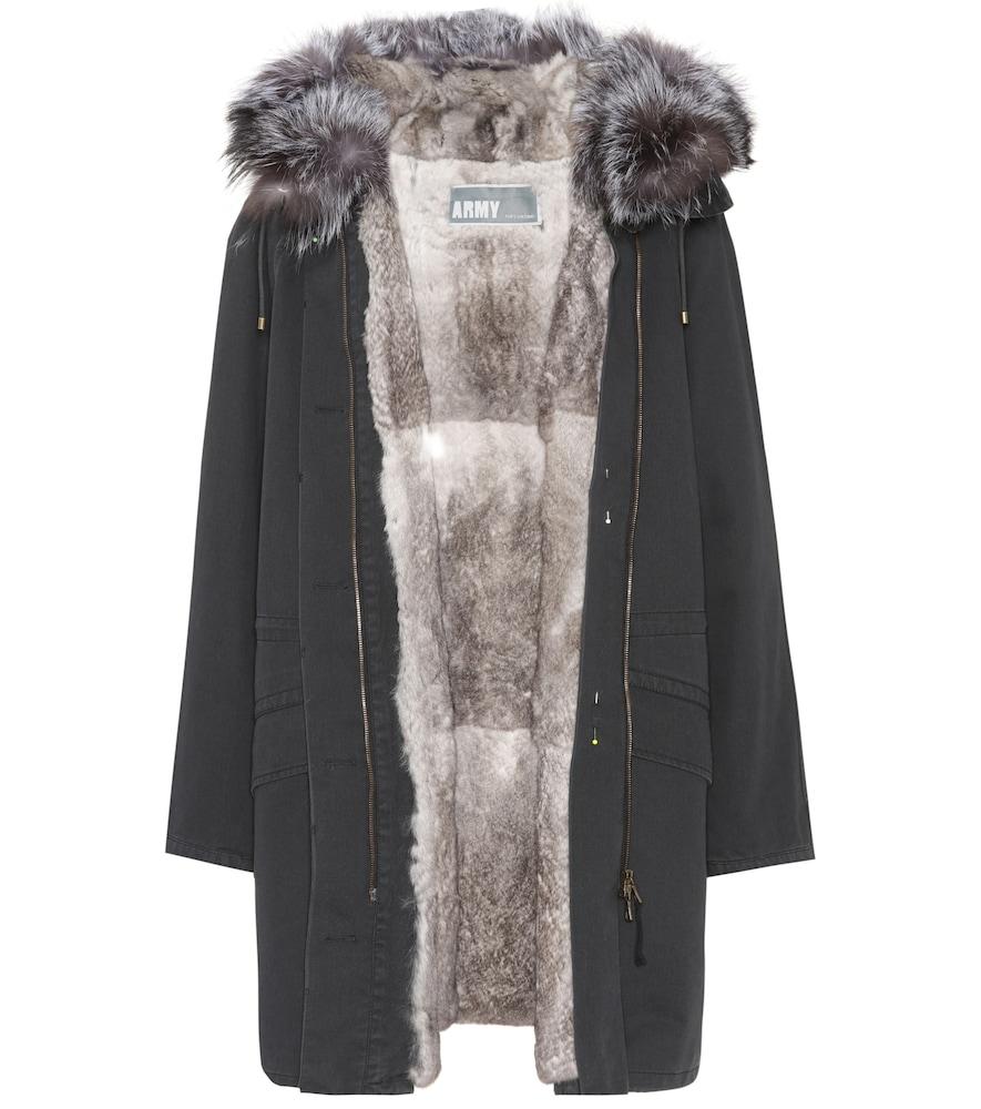 Fur-trimmed parka coat