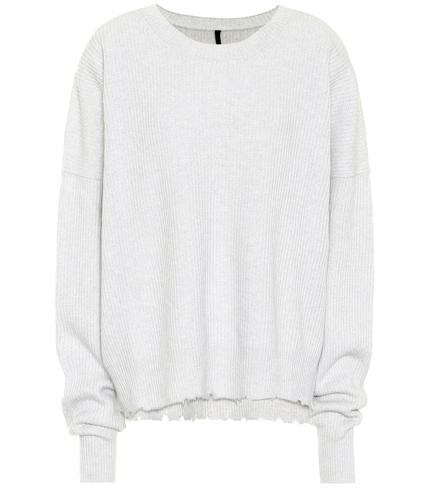 UNRAVEL Ribbed Wool And Cashmere Sweater in Grey