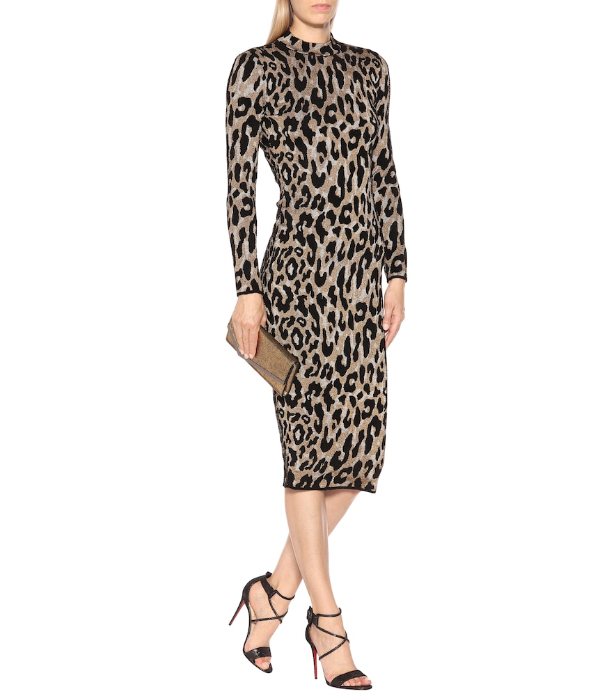 Leopard-printed midi dress by Versace