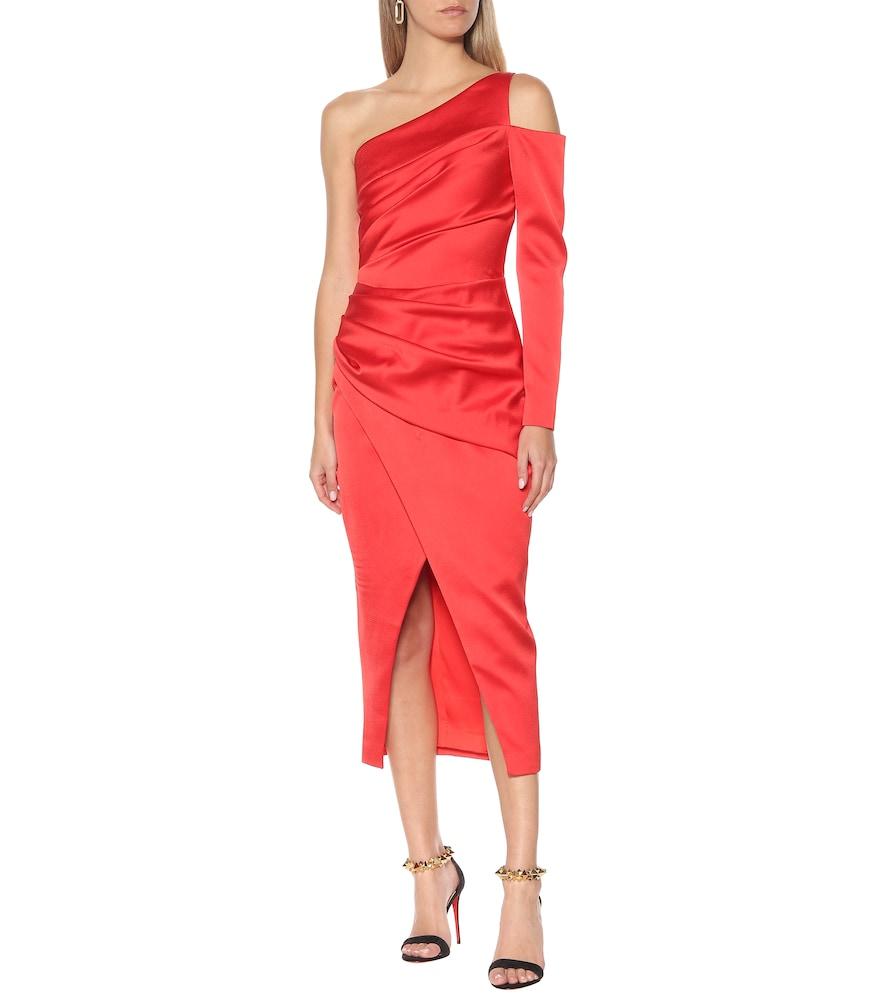 One-shoulder satin midi dress by RASARIO