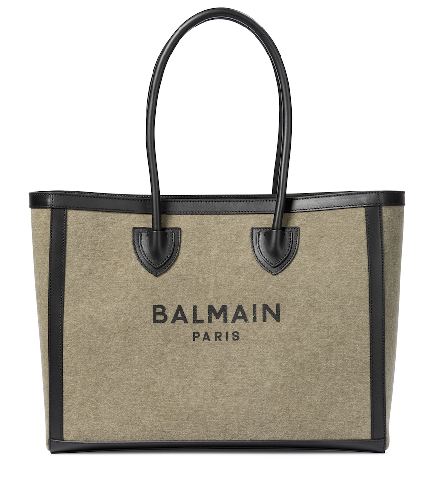 Balmain Women's B-army Leather-trimmed Canvas Tote In Green