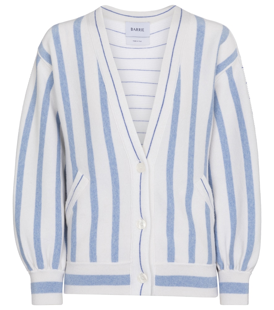 Barrie STRIPED CASHMERE AND COTTON CARDIGAN