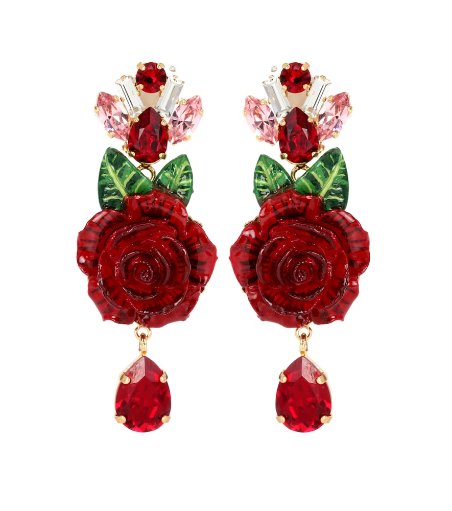 Dolce & Gabbana Crystal and resin floral earrings 3VzXEvA8F