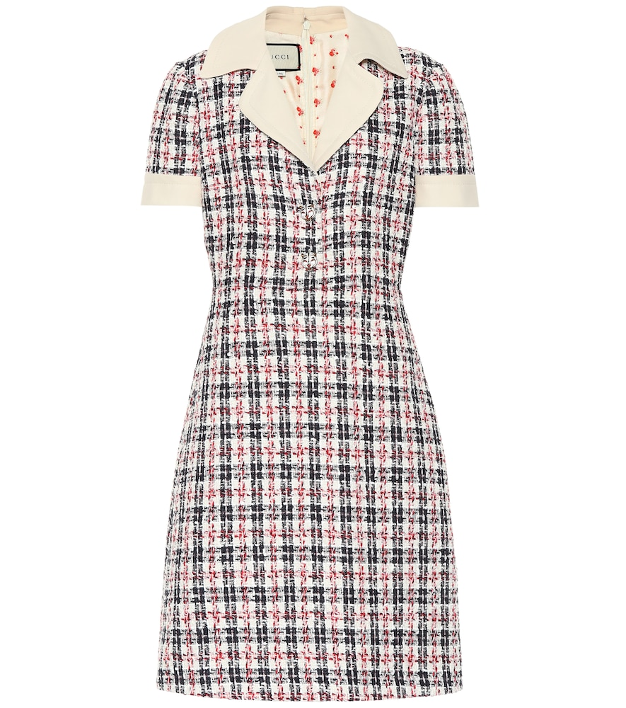 ba460e6690 Gucci Short-Sleeve Tweed A-Line Dress With Collar In White ...