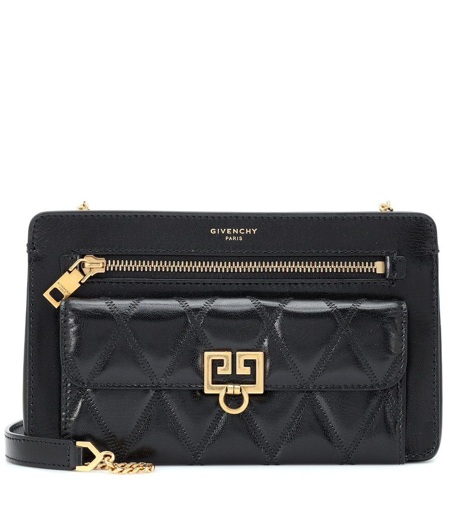 Diamond Quilted Leather Crossbody Bag - Black