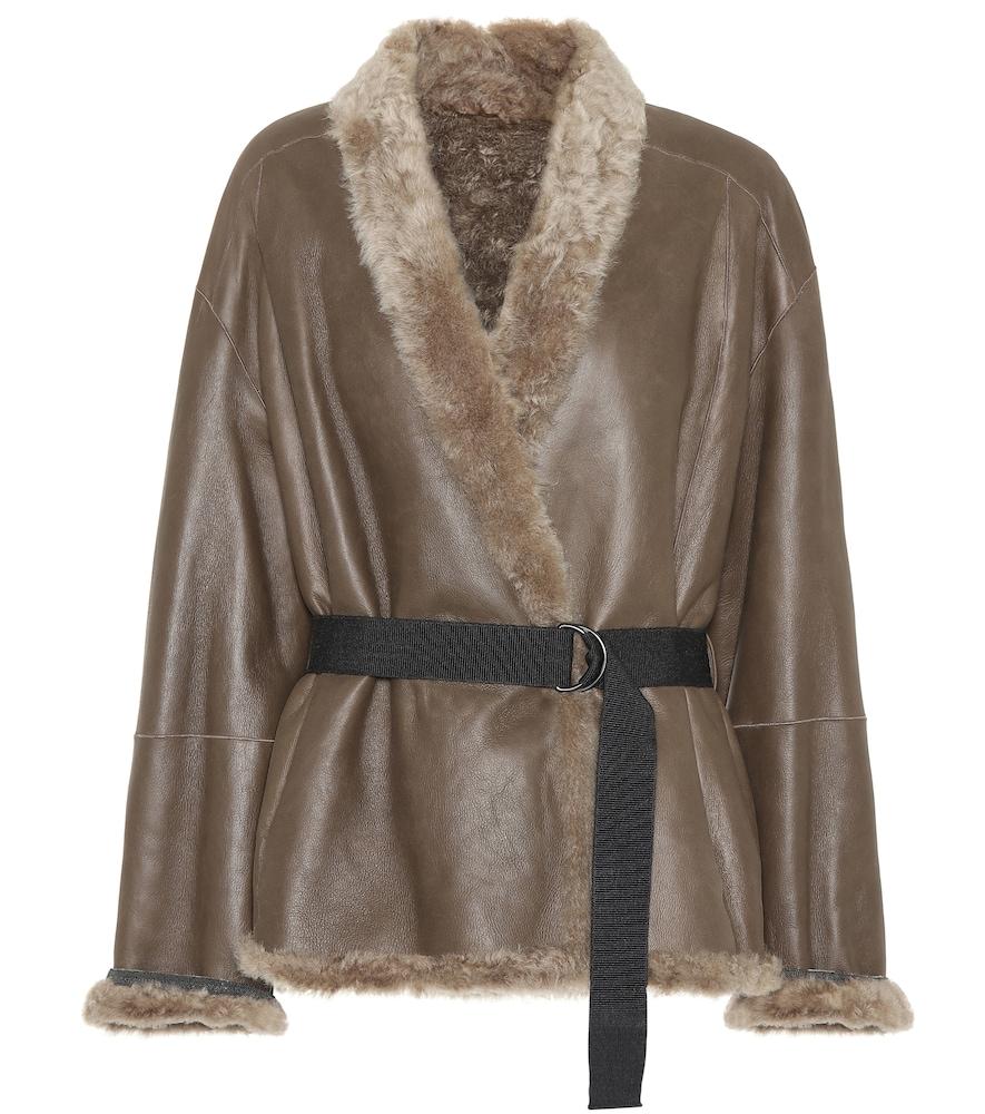 Brunello Cucinelli Fur Trimmed Leather Jacket In Brown