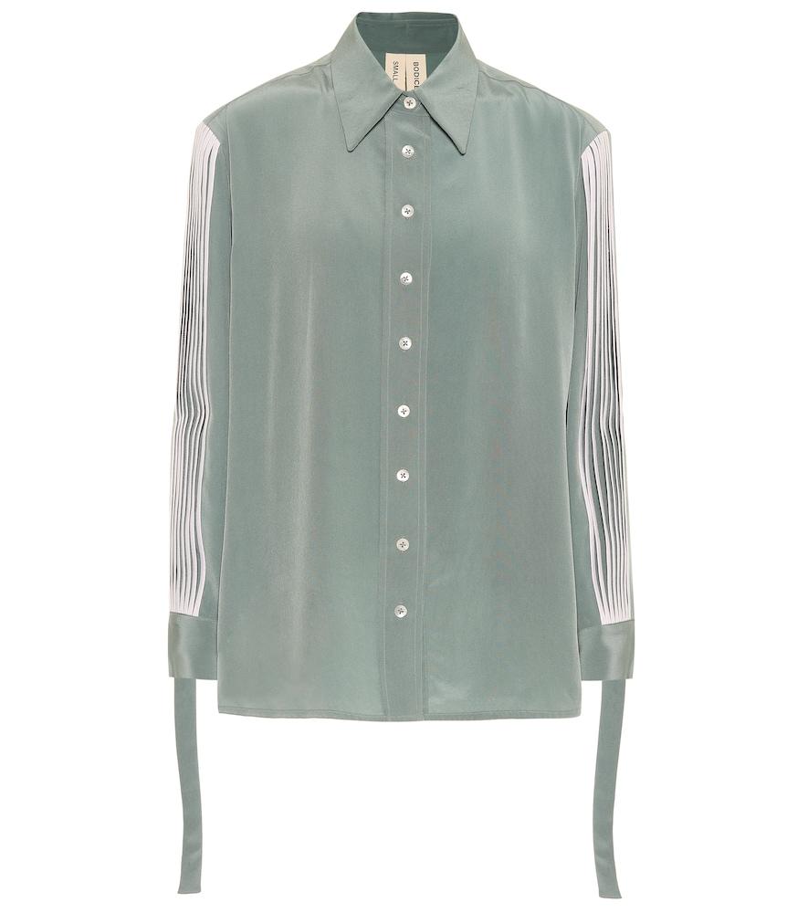 BODICE STUDIO Pleated Silk Shirt in Green