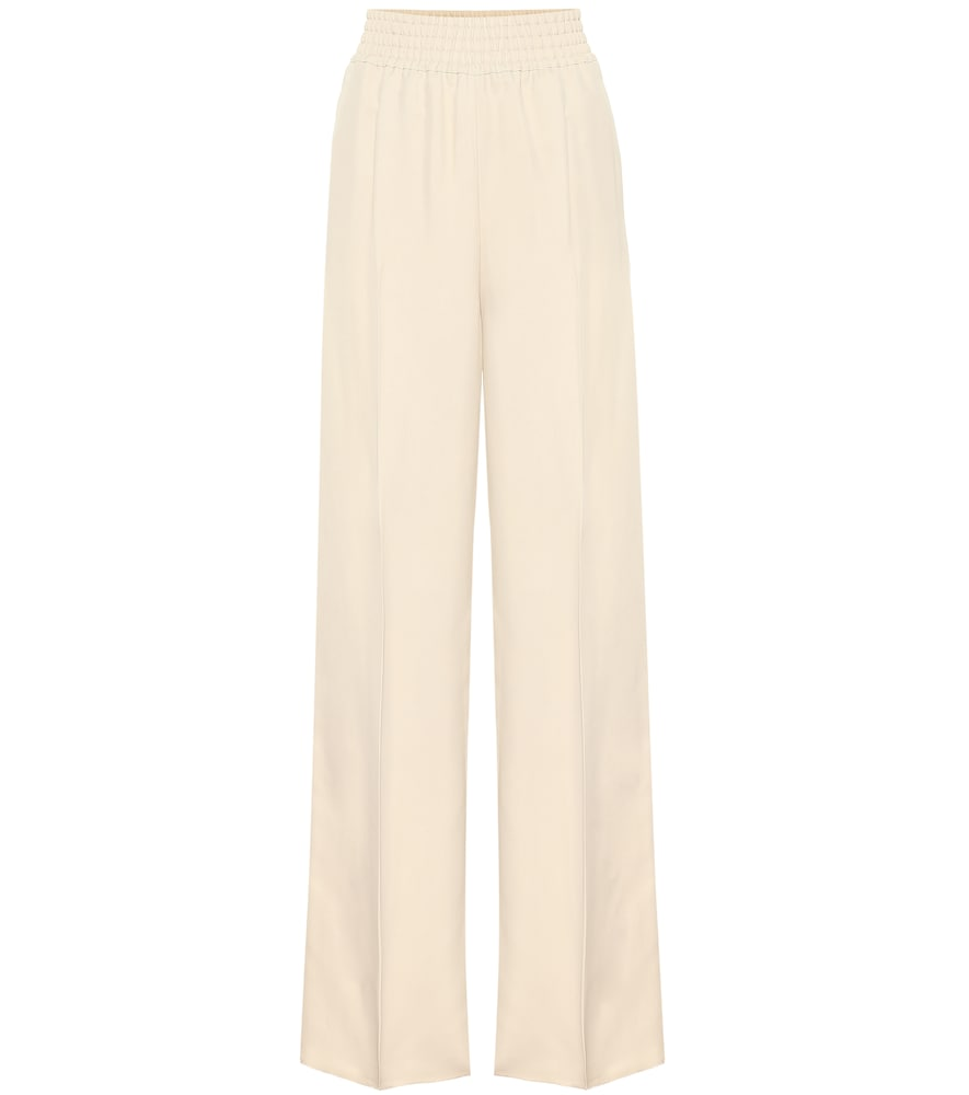 Agnona Satin-twill Wide-leg Pants In Beige