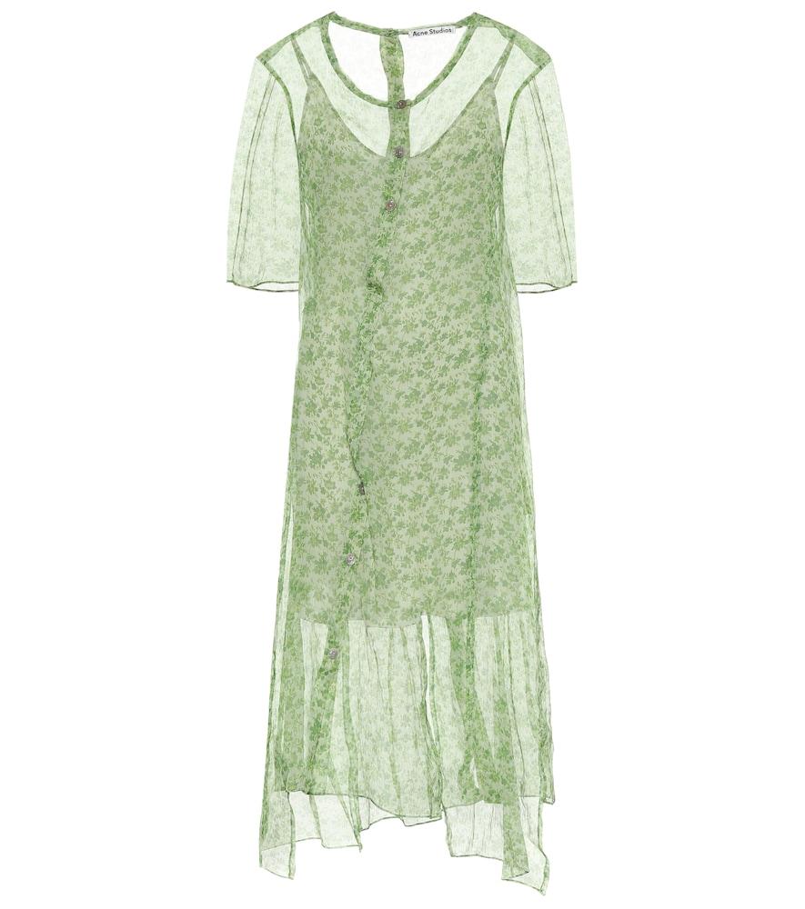 Floral silk chiffon midi dress by Acne Studios