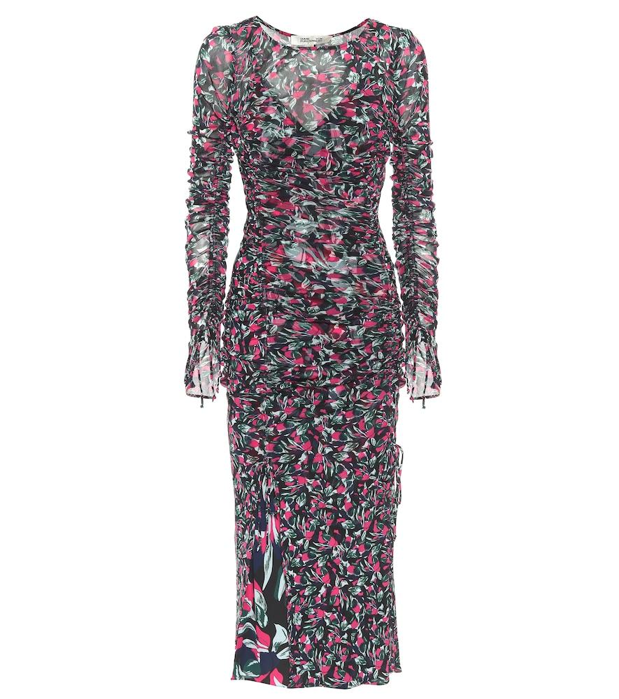 Corinne printed mesh midi dress by Diane von Furstenberg